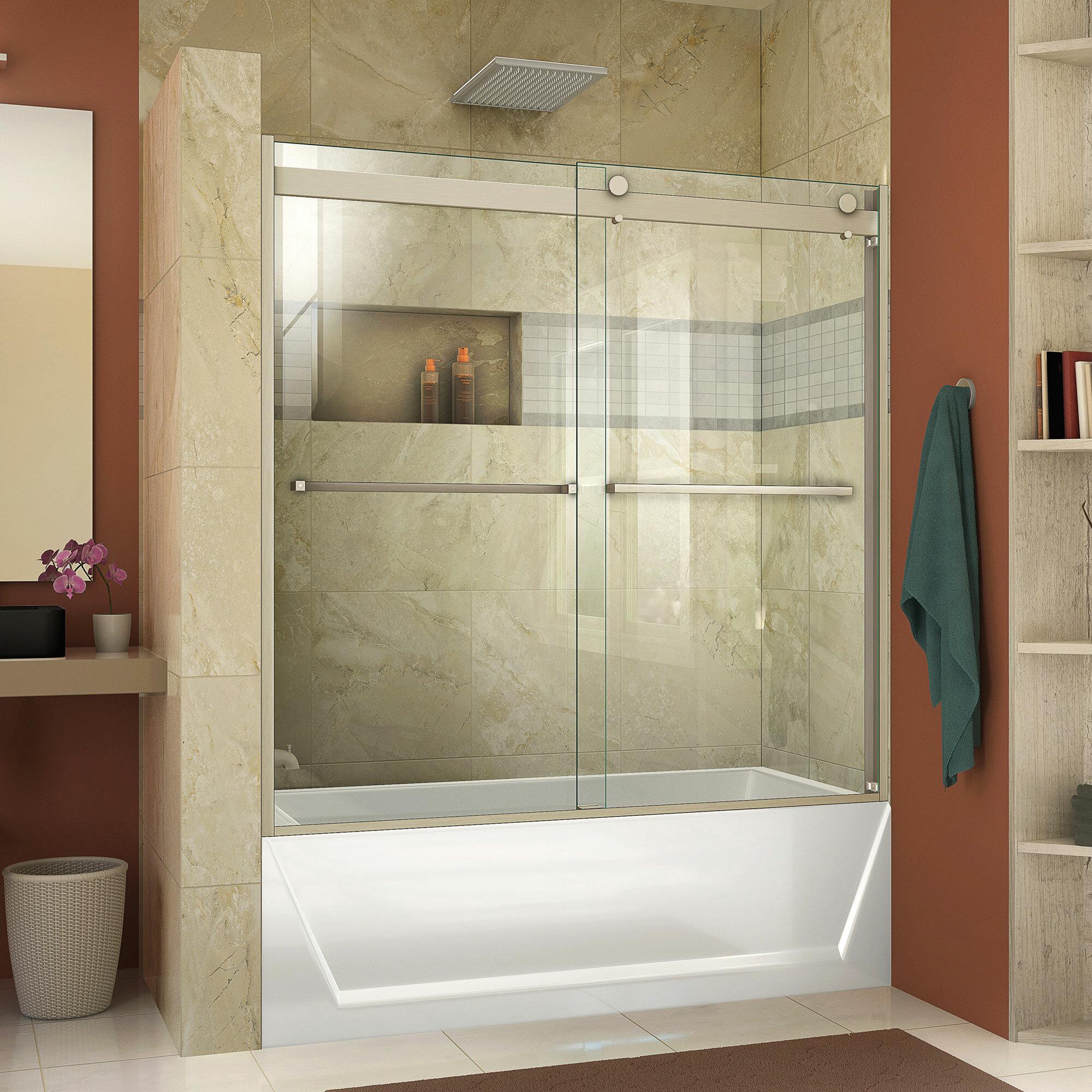 Dreamline Essence H 60 X 60 Bypass Semi Frameless Tub Door With