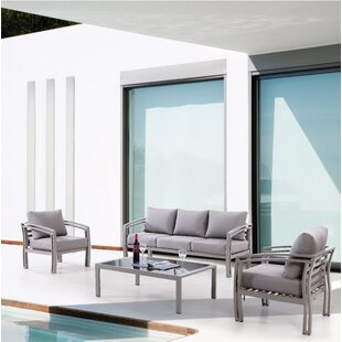 Ferebee Outdoor 4 Piece Sofa Set with Cushions
