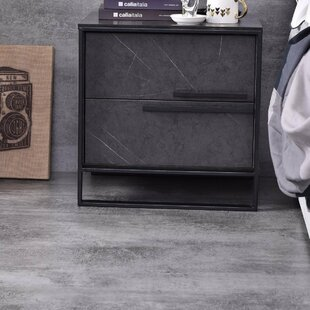 2  Drawer Metal Nightstand in Gray