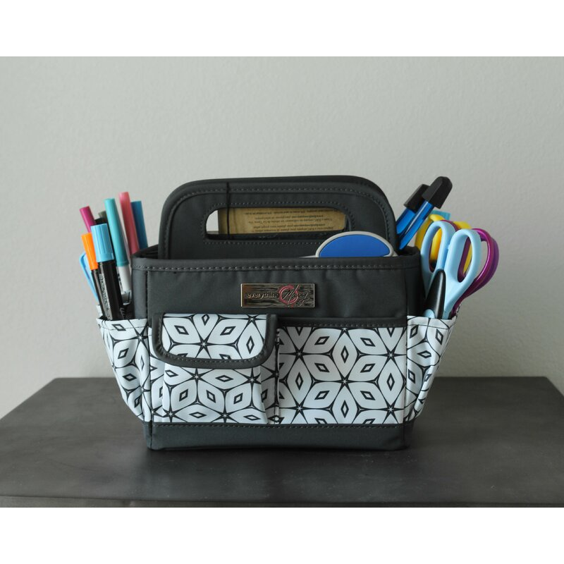 Everything Mary Grey Desktop Tote Storage Organizer - Bin for Crafts, Home, & Office Desk - Tote for Craft Supply Travel