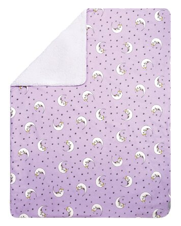 Melson Unicorn Moon Flannel and Faux Sheangrli Baby Blanket