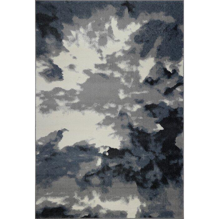 Toronto Sky Grey Abstract Area Rug