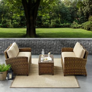 Lawson 3 Piece Rattan Sectional Seating Group with Cushions