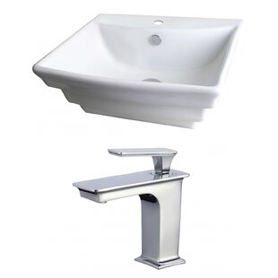 Find the perfect Ceramic 20 Wall Mount Bathroom Sink with Faucet and Overflow ByAmerican Imaginations