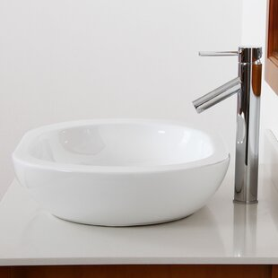 Elite Ceramic Oval Vessel Bathroom Sink