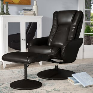 Inexpensive Leather  Heated Massage Chair with Ottoman by Alcott Hill