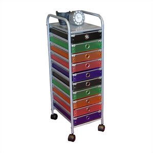 Nice Cass 10 Drawer Multi Colored Rolling Storage Tower