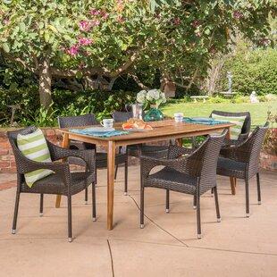 Stennett Outdoor 7 Piece Wicker Dining Set