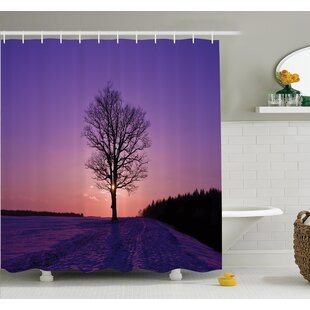 Affordable Price Tree Oak Sunset Wintertime Shower Curtain Set By Ambesonne