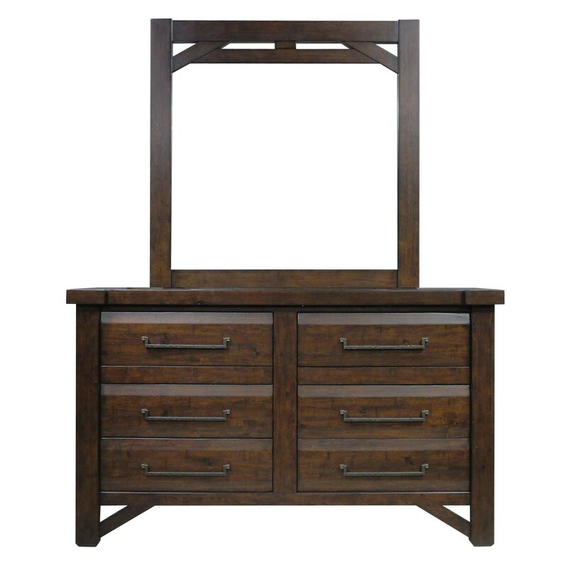 Union Rustic Bricelyn 6 Drawer Double Dresser With Mirror Wayfair Ca