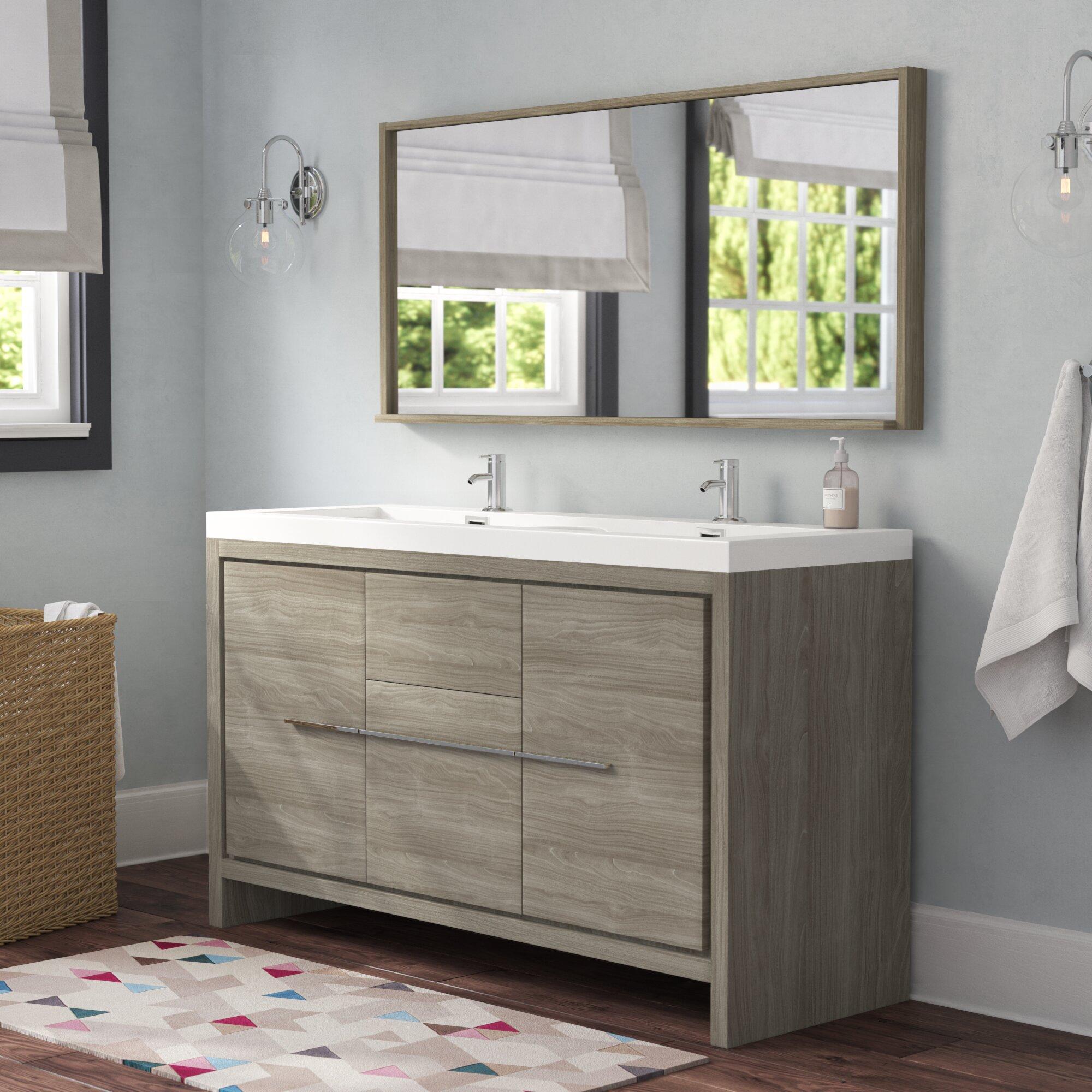 Stupendous Waldwick 57 Double Modern Bathroom Vanity Set With Mirror Download Free Architecture Designs Scobabritishbridgeorg