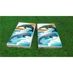 Custom Cornhole Boards Dolphins Playing in The Oceans Waves Light Weight Cornhole Game Set