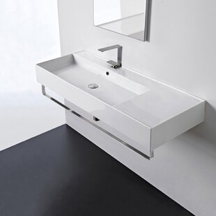 Savings Ceramic 48'' Wall Mounted Bathroom Sink with Overflow By Scarabeo by Nameeks