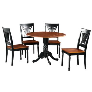 Shorey 5 Piece Drop Leaf Solid Wood Dining Set by August Grove