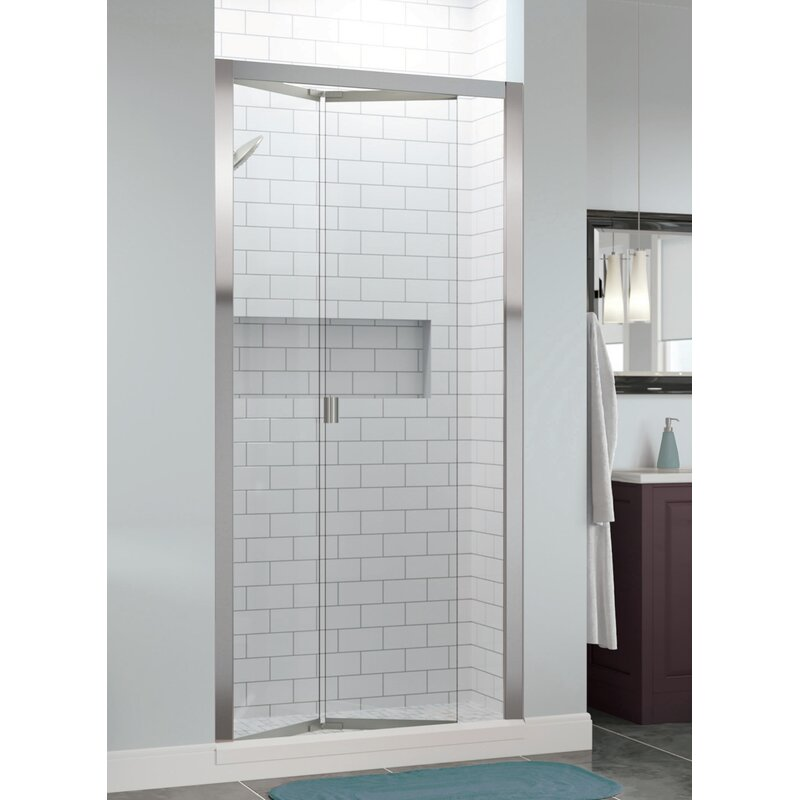 "Basco Infinity Bifold 31"" x 67"" Folding Semi-Frameless Shower Door  Glass Type: Clear, Finish: Chrome"