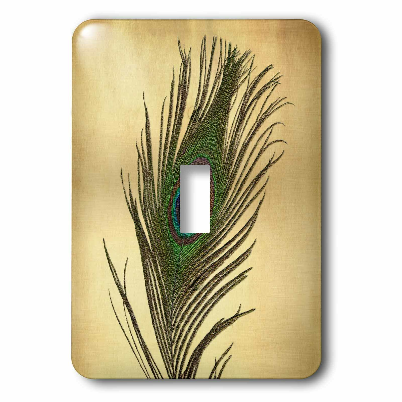 PEACOCK FEATHERS HOME WALL DECOR SINGLE LIGHT SWITCH PLATE