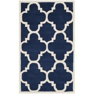 Wilkin Hand-Woven Dark Blue Area Rug by Wrought Studio