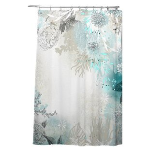 Holley Seafoam Single Shower Curtain by Bungalow Rose