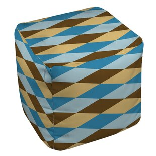 Bold in Blue Argyle Pouf by Manual Woodworkers & Weavers