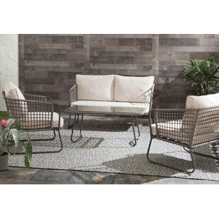 Conley 4 Piece Rattan Sofa Seating Group with Cushions