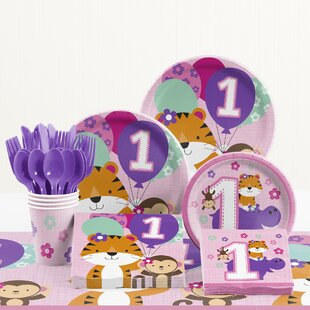 81 Piece One Is Fun Girl 1st Birthday Paper/Plastic Tableware Set