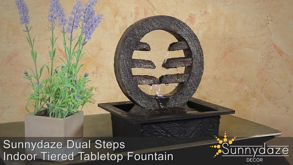 Tabletop Water Fountain 4 Level Zen With Light Small Pump
