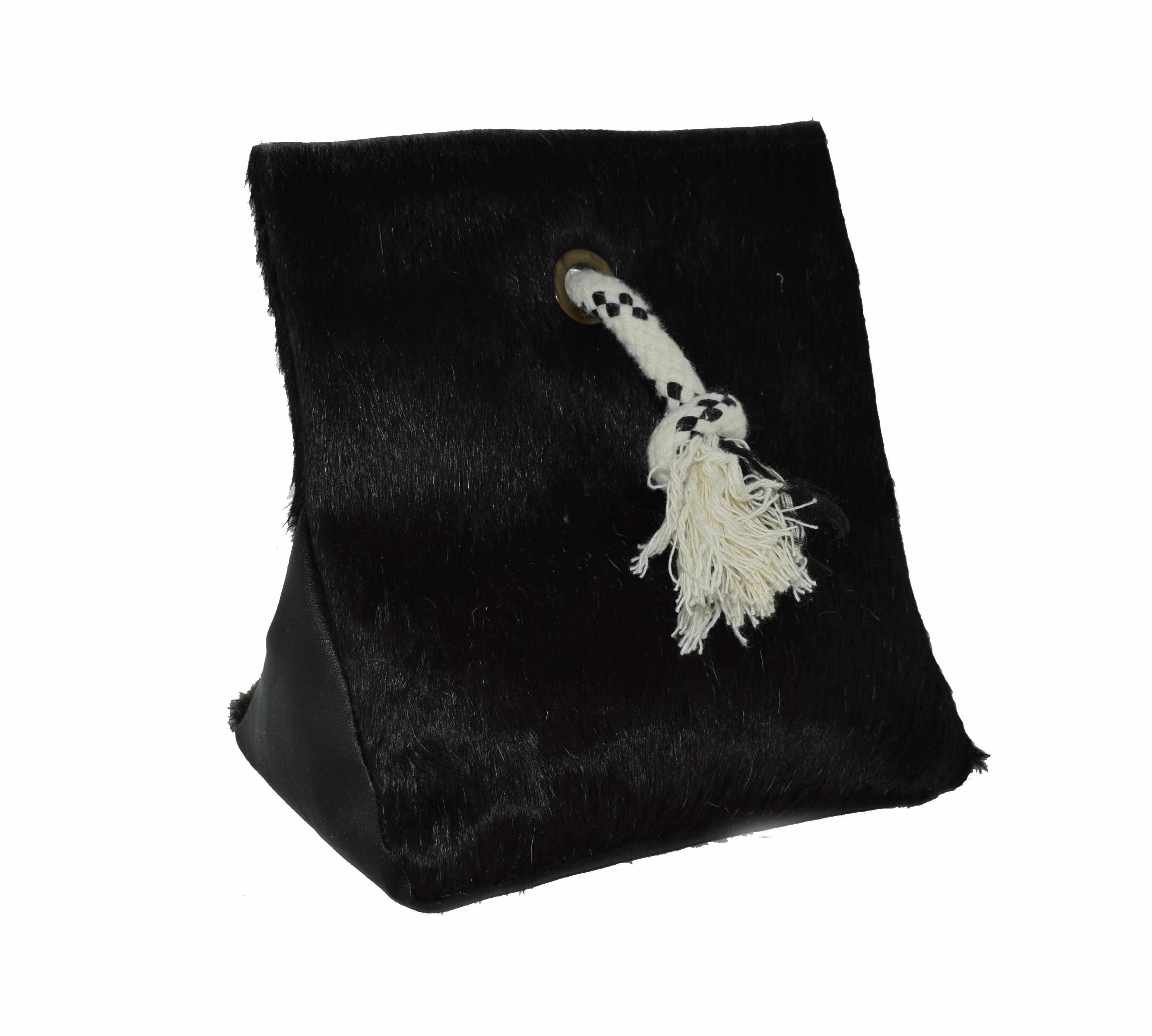Doorstop black cowhide