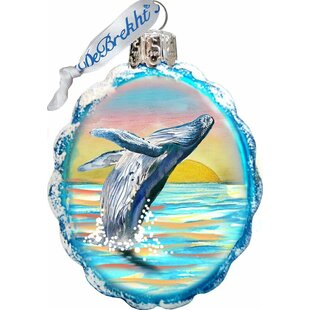 Coastal Flying Whale Shaped Ornament by The Holiday Aisle