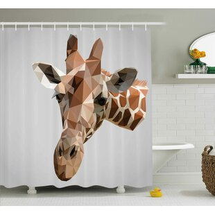 Bouznika Animal African Safari Wildlife Creature Digital Giraffe Modern Triangles Image Artwork Single Shower Curtain