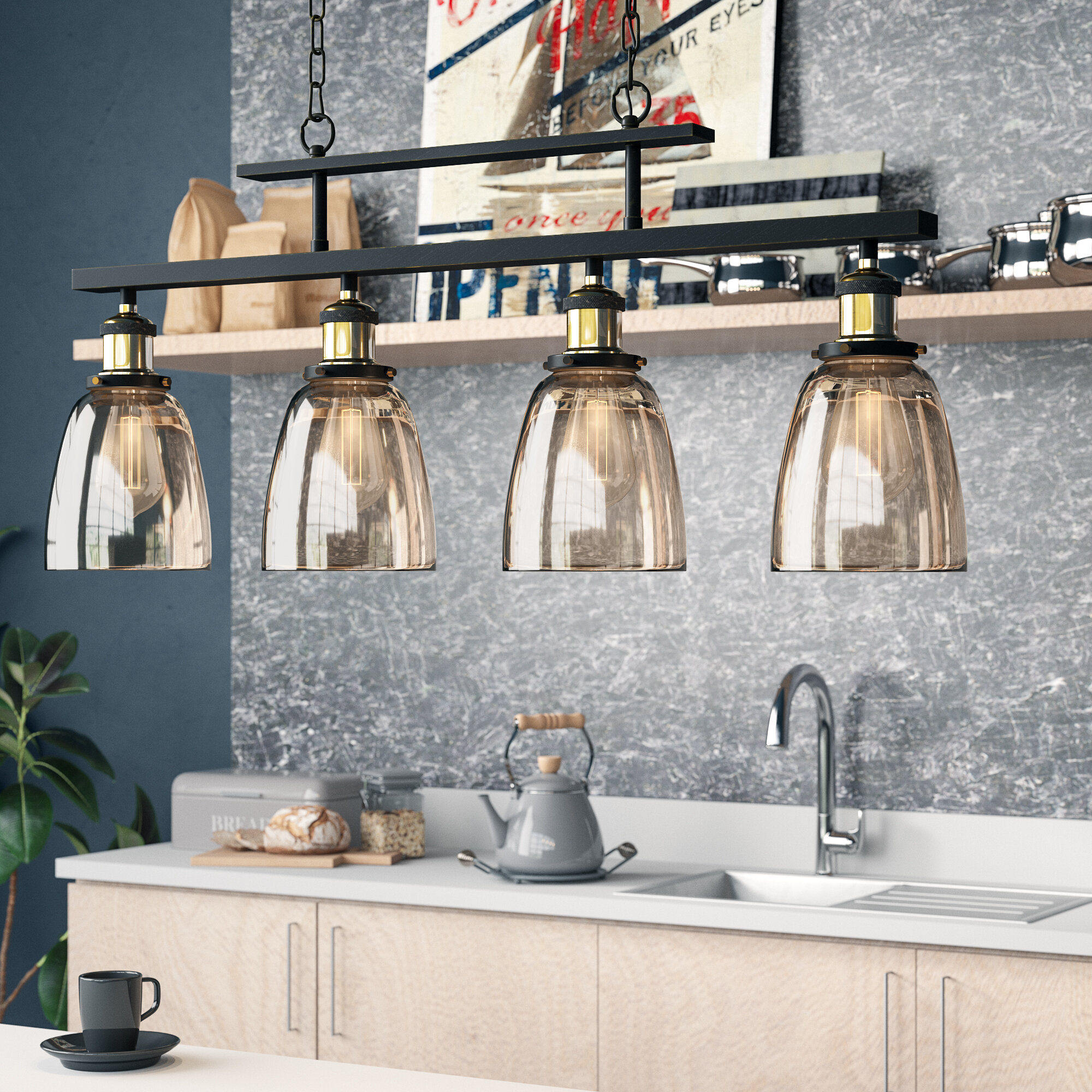 Williston Forge Felecia 4 Light Kitchen Island Linear Pendant Reviews
