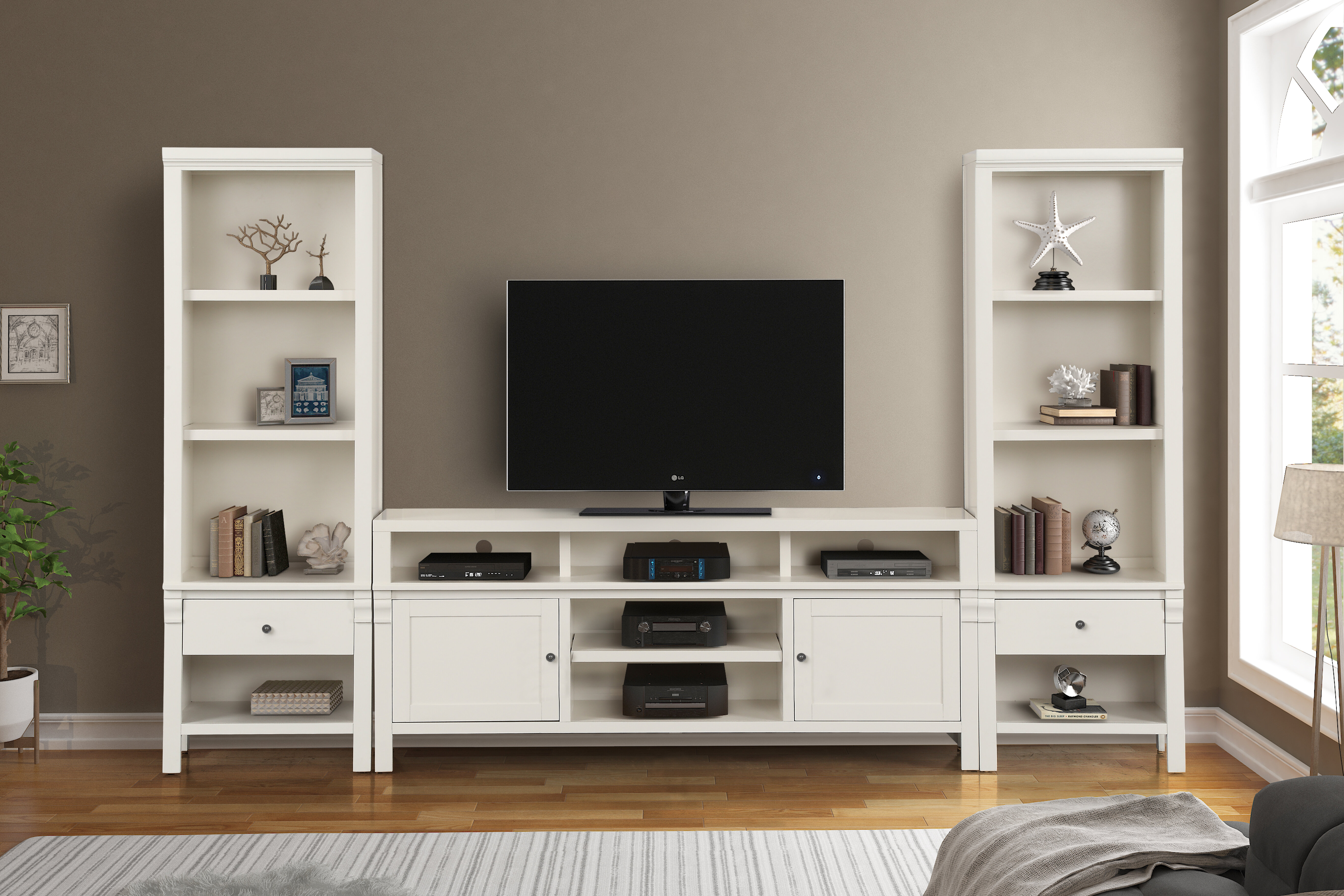 Canora Grey Leota Solid Wood Entertainment Center For Tvs Up To 75