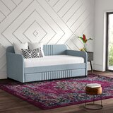 Aaru Upholstered Twin Daybed with Trundle by Mercury Row
