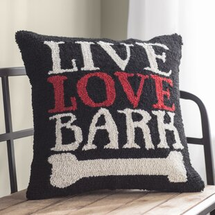 Borders Live Love Bark Dog Hook Wool Throw Pillow