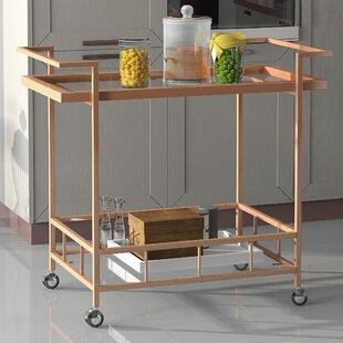 Orren Ellis Emrich Industrial Iron/Glass Bar Cart
