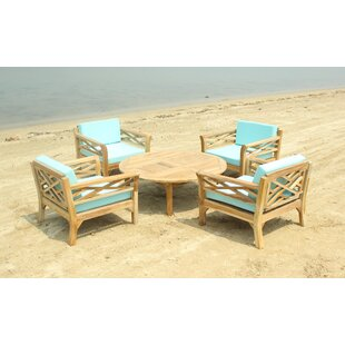 Lorenzo 5 Piece Teak Sunbrella Conversation Set with Cushions