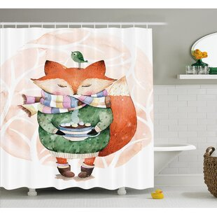 Belby Cute Fox and Bird Single Shower Curtain
