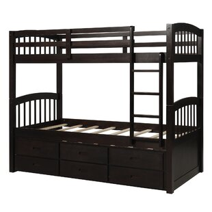 Wood Twin over Twin Bunk Bed with Trundle and Drawers by Harriet Bee