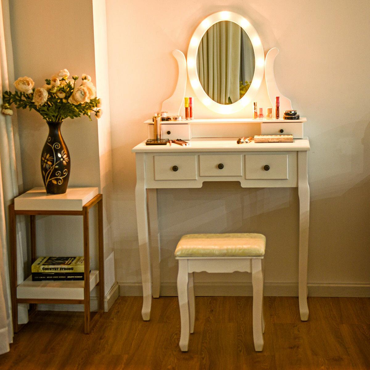 Oldfield 5 Drawer Makeup Vanity Set With Mirror