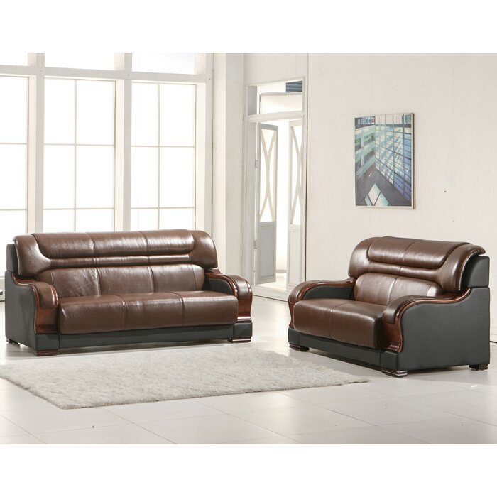 Murphree 2 Piece Leather Living Room Set