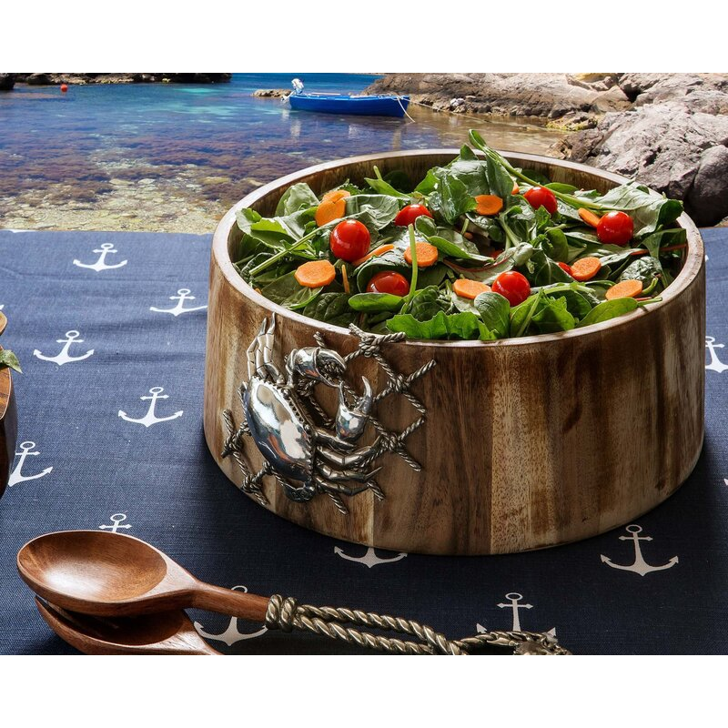 Vagabond House Sea And Shore Salad Bowl With Pewter Crab In Net Wayfair