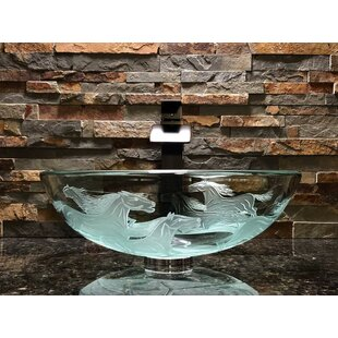 Bargain Nokota Glass Circular Vessel Bathroom Sink By Elegant Glass Engraving Studio