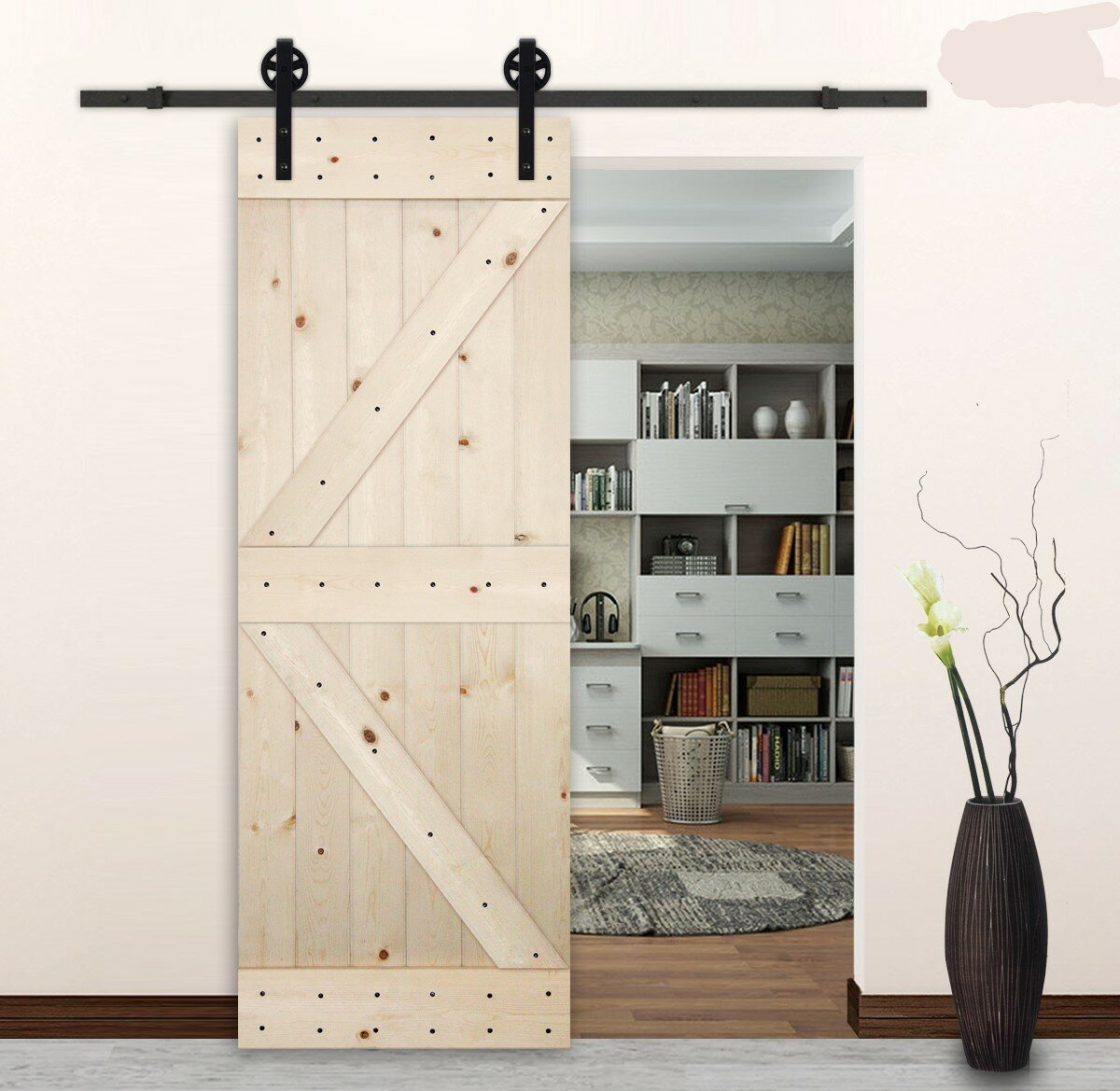 Lubann Big Wheel Style Sliding Wood Track Kit Barn Door Hardware Reviews Wayfair
