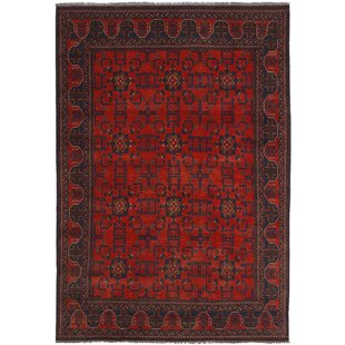 Best One-of-a-Kind Kaler Hand-Knotted 6'6 x 9'5 Wool Red/Black Area Rug By Isabelline