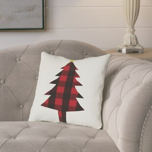 Cornell Plaid Christmas Tree Throw Pillow