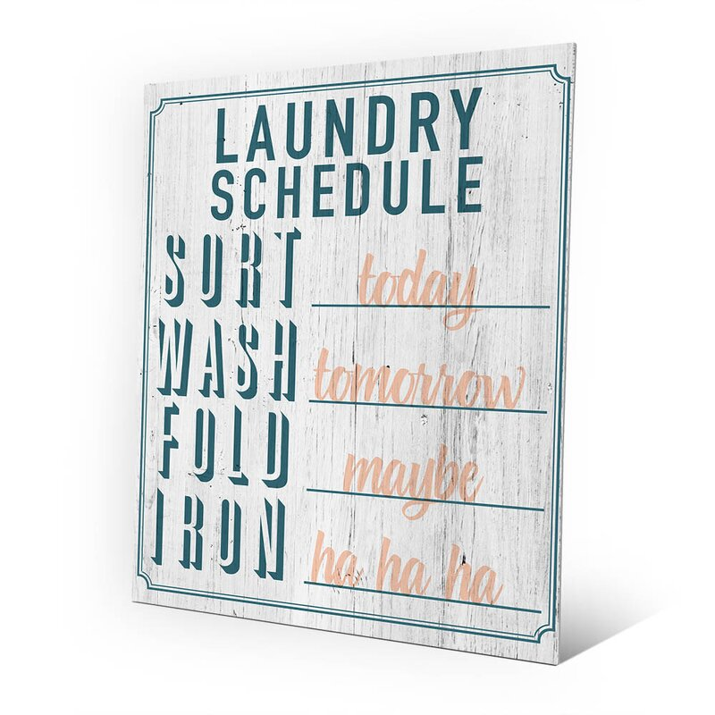 Metal Laundry Schedule Textual Art in Aqua