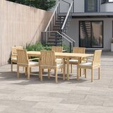 Anthony 7 Piece Teak Dining Set with Cushions