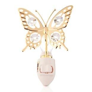 Matashi Crystal 24K Gold Plated Butterfly Night Light