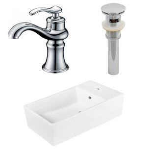 Ceramic Rectangular Vessel Bathroom Sink with Faucet and Overflow by American Imaginations