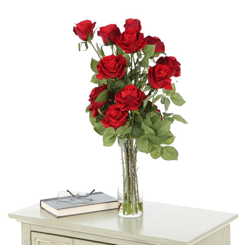 Nearly natural roses with cylinder vase silk flower arrangement roses with cylinder vase silk flower arrangement mightylinksfo