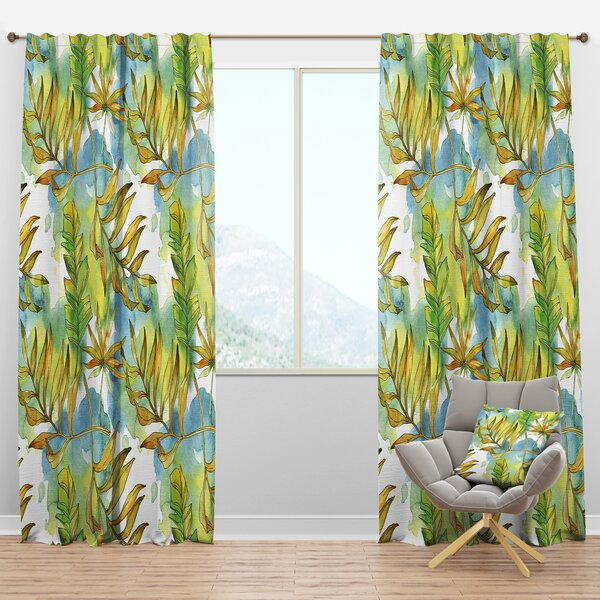 Designart Mid Century Tropical Foliage Floral Semi Sheer Thermal Rod Pocket Single Curtain Panel Wayfair